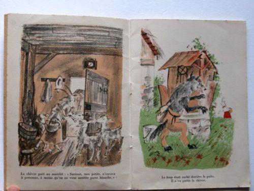 """Romain Simon, La chèvre et les biquets, """"Contes en images pour les petits"""", Flammarion, 1948."""