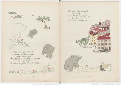 (c) Gallica. Jean de Brunhoff, Histoire de Babar le petit éléphant, Jardin des modes, 1931.