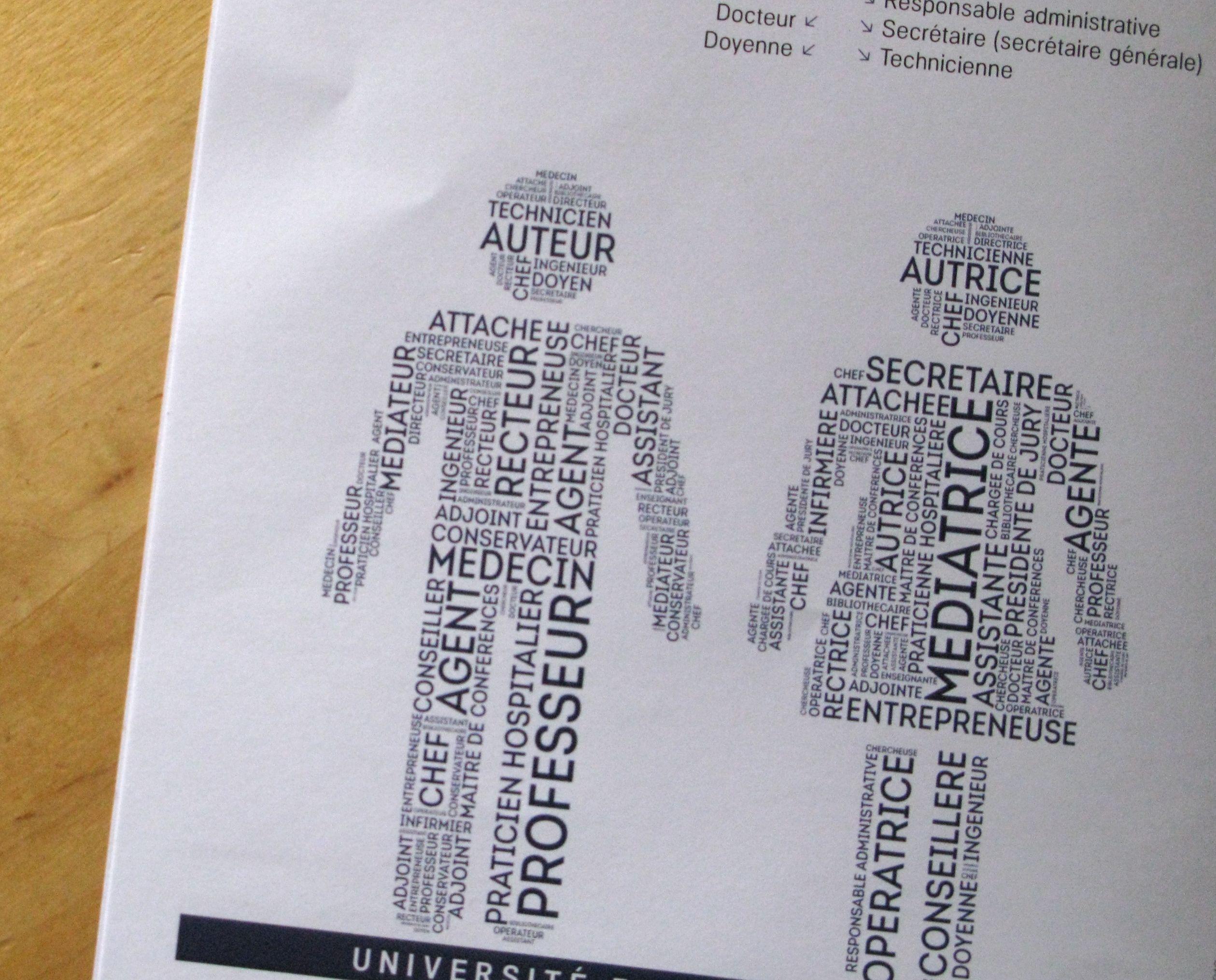 """Un """"nuage de mots-clés"""" pour habiller les silhouettes """"homme"""" et """"femme"""" des santitaires. Pour les hommes, les mots écrits en gros sont """"auteur"""", """"recteur"""", """"professeur"""", """"médecine"""". Pour les femmes, les mots """"secrétaire"""", """"médiatrice"""", """"opératrice"""", """"conseillère""""."""